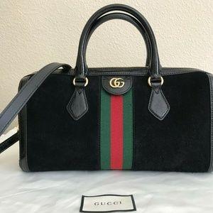 Gucci Ophidia purse: black suede red green stripe